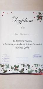 """I MIEJSCE W KONKURSIE KOLĘD I PASTORAŁEK –"""" KOLĘDA 2018"""""""